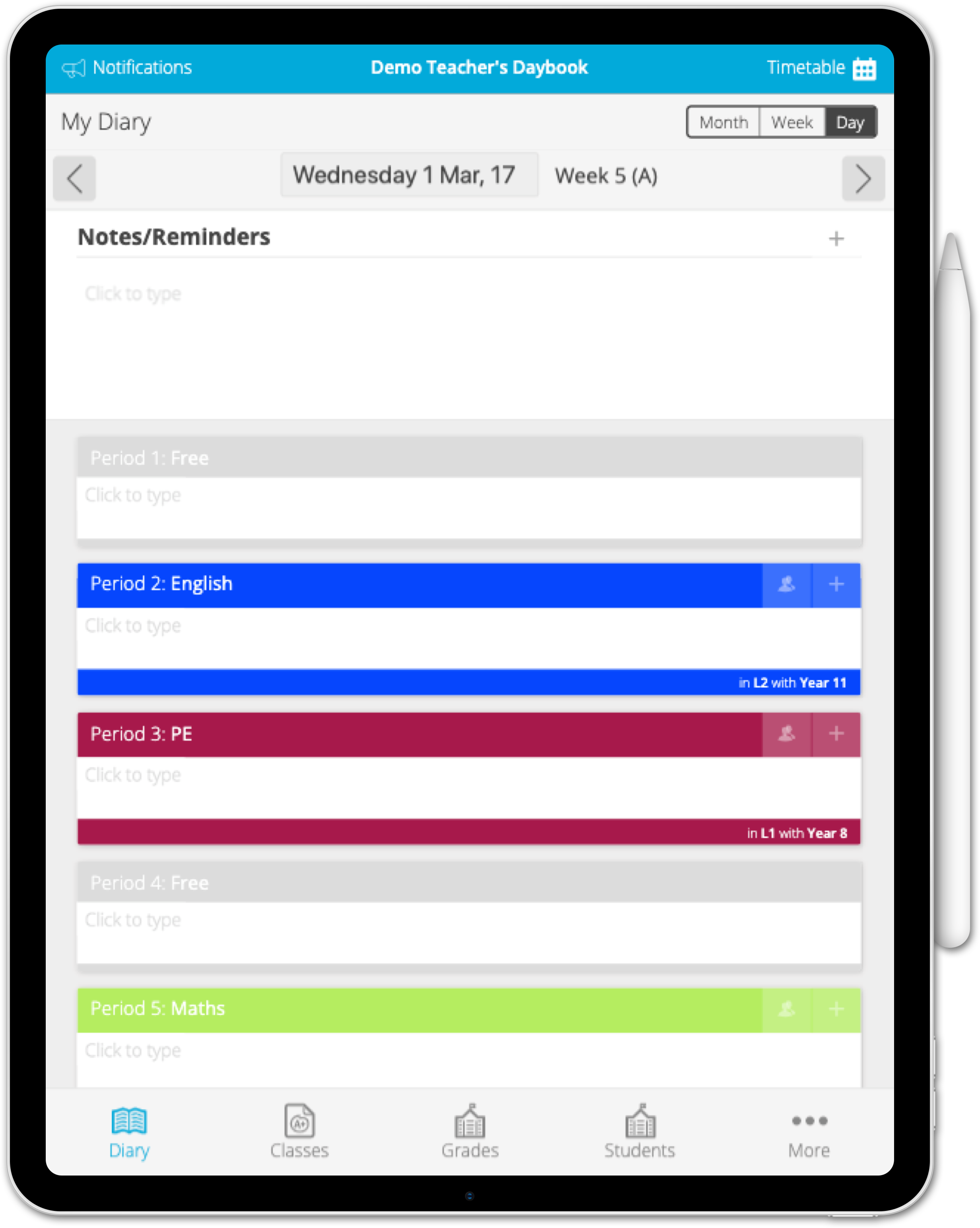 Daybook - the Teacher's Daily Planner